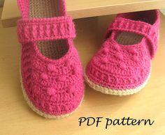 Marija / PDF Crochet PATTERN - Mary Jane Slippers Crochet Pattern House Slipper…