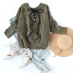 Get laced up in our Army Green Lace Up V Back Cable Knit Sweater. ✨✨ #armygreen #laceup #casual #chic #outfit #romwe