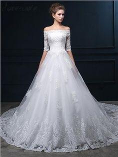 新作 オフショルダー 袖付きの豪華レース トレーンのロングドレス 花嫁ドレス ウェディングドレス