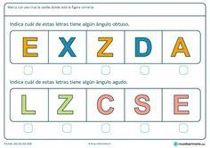Ficha de el ángulo de las letras para primaria