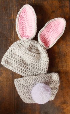 Bunny Hat and Diaper Cover Set Grey Pink and White by Babyinthehat, $30.00