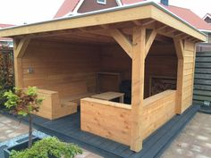 Backyard Gazebo, Backyard Seating, Backyard Patio Designs, Outdoor Pergola, Garden Seating, Backyard Landscaping, Summer House Garden, Garden Bar, Wooden Gazebo