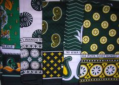 "African Kanga (Khanga) - Sarong or Throw in Traditional Design - Green & Black KANGA - The ultimate in African accessories. Not only ideal for wearing as a sarong on the beach, they also double up as a scarf, tablecloth, picnic rug, beach wrap, bedspread, or colourful furniture throw. Like all original Kangas from East Africa, these ones comes printed with traditional swahili motto. This brand new Kanga from Tanzania is of the traditional size of 152cm (60"") x 108cm (41""); a single (not…"