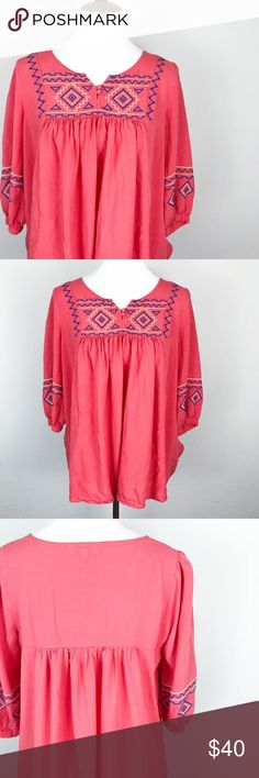 """Umgee USA Peasant Top Med Embroidered Coral Boho Umgee USA Women's Peasant Top Medium Embroidered 3/4 Sleeve Split Neck Coral  Type: Top  Style: Peasant   Brand: Umgee  Material: 65% Cotton 35% Polyester    Color: Coral     Measurements:   Bust: 21"""" Length: 29""""   Condition: No snags, stains, or pilling.   Country of Manufacturer: China  Listing is for top ONLY. Anything else in the photos is NOT included. Jean Bourget Tops"""