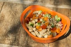 bowl of pasta salad with lots of vegetables