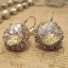 SWAROVSKI EARRINGS, 12mm square cushion cut, crystal moonlight, high sparkle, stunning, bridal, bridesmaid, crystal halo