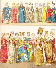 French women clothing - middle ages - chromolitograph