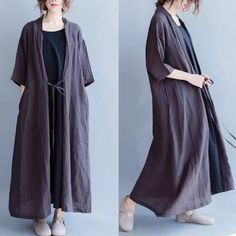 Linen coat long dresses