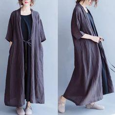 Linen coat long dresses