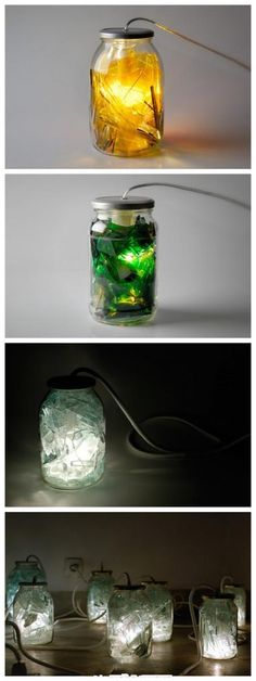 Broken glass bottle lamp. Try colored glass and a battery light inside the jar.