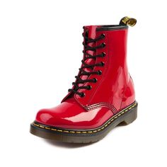 Shop for Womens Dr. Martens Boot in Red at Journeys Shoes. Martens style boot featuring an 8 eyelet lace-up, patent leather upper, and signature Airwear sole. Doc Martens Outfit, Doc Martens Boots, Dr. Martens, White Doc Martens, Jet Set, Ugg Boots, Shoe Boots, Combat Boots, Me Too Shoes
