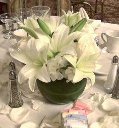 Rose Bowl Centerpiece with White Lilies, Roses, and Hydrangea surrounded by Rose petals