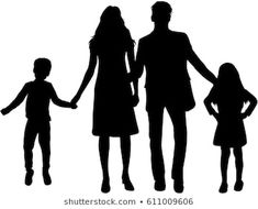 Vector silhouette of family. Silhouette Couple, Family Tattoos, Mom Daughter, Illustrations, Arm Tattoo, Silhouettes, Photos, Father, Images