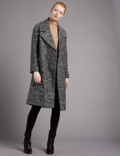 Herringbone Duster Overcoat with Wool | M&S
