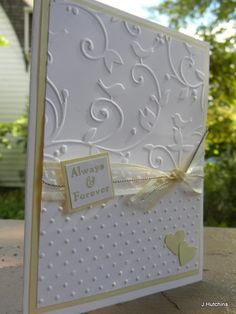 ideas for bridal shower cards handmade embossing folder Homemade Wedding Cards, Wedding Cards Handmade, Greeting Cards Handmade, Homemade Cards, Cricut Cards, Stampin Up Cards, Wedding Shower Cards, Wedding Anniversary Cards, Handmade Anniversary Cards
