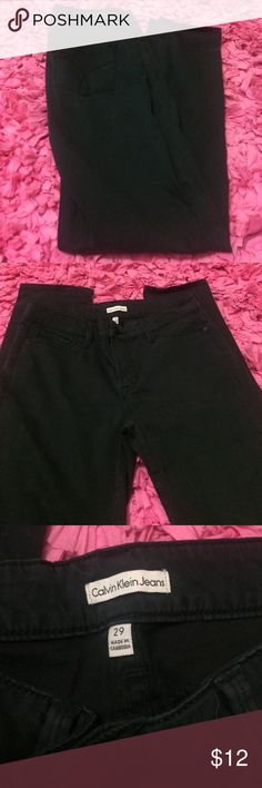 Calvin Klein Jeans Good used condition. Dark gray/black color. Size 29. 31in inseam.   ❤️No trades or other websites ❤️Open to reasonable offers  ❤️Lowball offers will be declined ❤️Next day ship Mon-Sat ❤️4.9 rating ❤️230+ listings sold ❤️Please ask questions  Don't rate based on how the item fits you! Ask all questions BEFORE buying. Calvin Klein Jeans Skinny