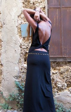 Hey, I found this really awesome Etsy listing at https://www.etsy.com/listing/105621345/open-back-dress-black-maxi-dress-goddess