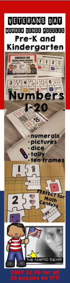 This is my favorite Kinder Resource for combining Veterans Day and Math!!! My kiddos love to build their number fluency with puzzles and what better way to integrate what's going on in the real world?!  Grab it now on TPT!!