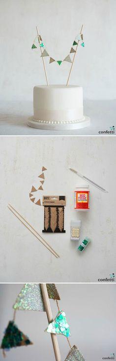 Mini Paper Bunting   #DIY #Wedding #Cake #Ideas #Bunting   Confetti.co.uk