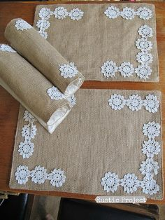 Burlap Placemats Vintage Lace Flowers Shabby Chic by rusticproject