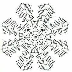 Estrella, crochet - Her Crochet Crochet Squares, Crochet Snowflake Pattern, Crochet Motif Patterns, Crochet Circles, Crochet Buttons, Crochet Snowflakes, Crochet Diagram, Crochet Chart, Thread Crochet