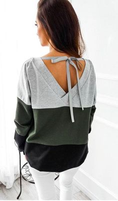 Sexy Backless Bandage Lace-up Sweatshirts Women Autumn Striped Patchwork Pullovers Hoodies Casual Long Sleeve Tracksuit Tops Bow Tie Shirt, Tracksuit Tops, Cooler Look, Jeans Rock, Basic Tops, Pullover, Shirts & Tops, Colorful Fashion, Swagg