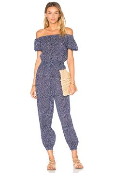 Rebecca Taylor Woodblock Gauze Jumpsuit in Ink Blue