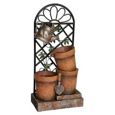 At nearly three feet tall, this Alpine Three Flower Pots and Garden Tools Outdoor Fountain is scaled to make an impression. This outdoor fountain. Indoor Water Features, Water Features In The Garden, Garden Fountains, Garden Pots, Water Fountains, Small Fountains, Garden Water, Vegetable Garden, Garden Ideas