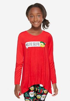 Assymetrical Emoji Long Sleeve Top (original price, $29.90) available at #Justice