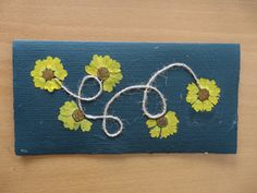 Card from special handmade paper and dry flowers - No. 4