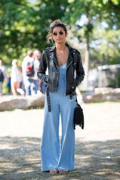 Denim jumpsuit + leather-based biker jacket // #streetstyle