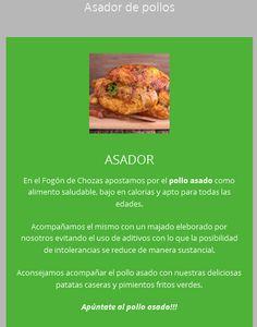 En el Fogón de Chozas apostamos por el pollo asado como alimento saludable, bajo en calorias y apto para todas las edades.