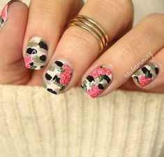 11 – Feminine and Floral Camouflage Nail Designs What's the simplest way to add a feminine air to a rather masculine pattern? Pink flowers, of course, although any shade of flower would probably work quite well. The actual camouflage design has been created in lighter shades with this look, which makes those pink pops much easier to see. Lighter taupe colours, as well as black, cream, and light khaki green have been used. The backdrop is lighter in tone than some of the darker combinations…