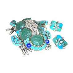 Vintage 1980's Signed Iradj Moini Lapis & Turquoise Turtle Pin & Earrings
