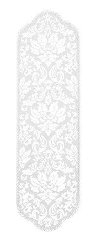 Heritage Lace Heritage Damask Table Runner 14 x 49 by Heritage Lace. $18.99. This cool 14 inch wide, 49 inch long Heritage Damask pearl white table runner features a versatile look of modern baroque traditional and formal that can also be fashionable and fun. Heritage Damask dresses tabletops in elegant clipped embroidery home textiles with a pearlescent tone.. Made by Heritage Lace, the topper is made of 100% polyviscose, is washable and will last for years.  It...