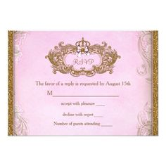 Fairy Birthday Party Once Upon a Time Princess Birthday RSVP Card