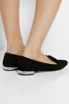 Miu MiuCrystal-embellished suede point-toe flats