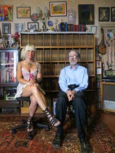Robert R. Crumb and Eden Brower in Robert Crumb's record room.