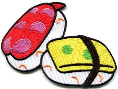 2.5 inches x 3.5 inches Nigiri sushi raw fish nori rice Japan nigirizushi embroidered applique iron-on patch *** Want additional info? Click on the image.