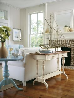 Seaside Cottage Round Pedestal Lamp Table and console table= buy it at this site