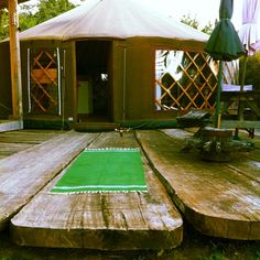 Morning practice outside our yurt!