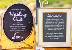 Wedding Quilt guest book directions. Both were painted with chalkboard paint and then the words were stenciled with transfer paper and painted!