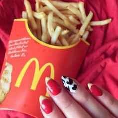 McDonald's Nails Moschino Red Yellow Monochrome Stiletto  Black White French Manicure Fries Inspiration