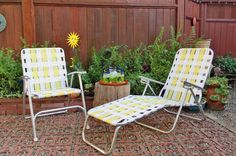 Vintage Folding Lawn Chair / Folding Chaise Lounge / by 3x1vintage, $138.00 Lawn Chairs, Outdoor Chairs, Outdoor Furniture, Outdoor Decor, Modern Patio, Mid-century Modern, Dividers, Vintage Furniture, Shelving