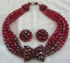 COPPOLA E TOPPO Red Crystal Necklace & Earrings Set