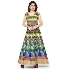 Kapadewala New Latest Green Printed Banglore Silk Semi Stitched Free Size  XXL Party Wear Gown for Women 395c43fae