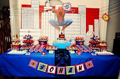 Spider man Birthday Party Table and Cake