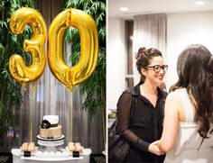 black, white, and gold 30th birthday party // dessert table with donuts + cake