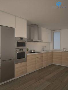 La distribución para la #cocina será en forma de L. #reformas #Barcelona #3D #interiorismo