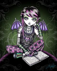Shop Ally Tattoo Emo Fairy Poster created by mykajelina. Gothic Fantasy Art, Gothic Fairy, Gothic Anime, Dark Fantasy, Art Emo, Goth Art, Illustrations, Fairy Art, Faeries